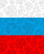 Russian flag painted Khokhloma. National State sign. Russian patriotic orname - stock illustration