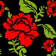 Red Rose seamless pattern. Floral texture. Russian folk ornament. Red flowers Stock Illustration