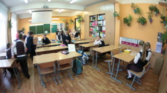 Start of educational day at the school, Russian pupils Stock Footage