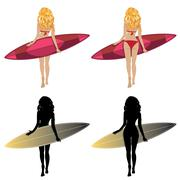 Back View of a Surfer Girl Stock Illustration