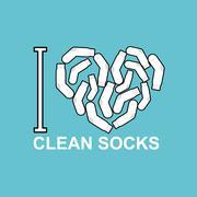 I love clean socks. heart symbol of pure white sock. Stock Illustration
