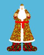 Russian Santa Claus. Grandfather Frost. Cloak in traditional ornament khokhlo - stock illustration