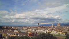 A view of Florence, Tuscany Italy from Ponte Vecchio to Palazzo Vecchio to Duomo - stock footage