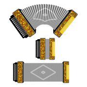 Russian accordion musical instrument. harmonic  National folk jukebox. Decora Stock Illustration