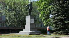 Sculptures of Soviet time are in city, Russia Stock Footage