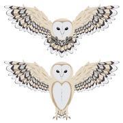 Cartoon Barn Owl - stock illustration