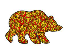 Russian Bear hohloma style. National Folk painting of flowers. Wild animal of - stock illustration