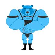 Gay bear symbol of sexual community. Big strong blue bear. Tons powerful wild - stock illustration