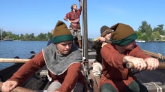 Captain of medieval bark sings song Stock Footage