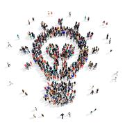 people group bulb idea 3d - stock illustration