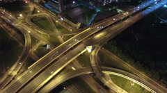 Aerial view at intersections of city encircling road. Night traffic. Russia Stock Footage