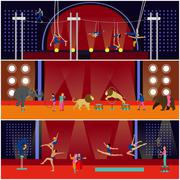 Vector set of circus interior concept banners. Acrobats and artists perform show Stock Illustration