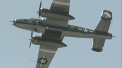 North American B-25 Mitchell Flyover in Slow Motion Stock Footage