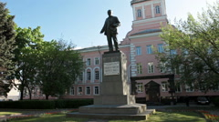 Lenin sculpture of Soviet time is in Russia Stock Footage