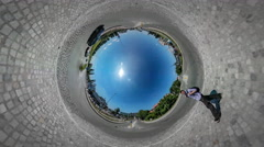 360Vr Video City Traffic Midday Sun Shines Cars Driven by a Road Mini Planet - stock footage