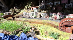 Installation of country historical model with water mill, houses. Candelaria Stock Footage