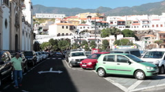 Parking lot is next to Basilica of Our Lady of Candelaria, Tenerife, Canary Stock Footage