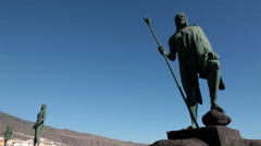 Statues of the guanches are in the square of the Saint Patron of the Canary - stock footage