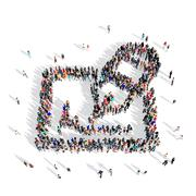 people group pen 3d - stock illustration