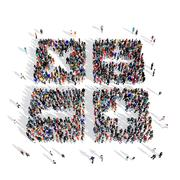 people group mathematical signs 3d - stock illustration