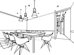 interior outline sketch drawing perspective of a space office - stock illustration