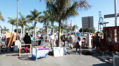 Open air trading stands with cheep goods. Santa Cruz de Tenerife Stock Footage