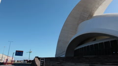 Grand architectural building of the Auditorio de Tenerife. Santa Cruz. Canary Stock Footage