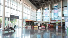 Interior of hall of the central bus terminal with ticket offices, Santa Cruz Stock Footage