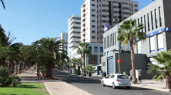 Modern buildings are in center of the city. Cityscapes of Santa Cruz de Tenerife Stock Footage