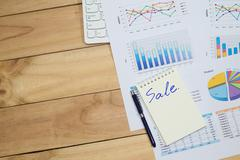 Sale analysis report show result success charts and graphs on document paperw Stock Photos