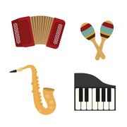 Accordion, maraca, piano and saxophone icon. Music instrument. v Stock Illustration