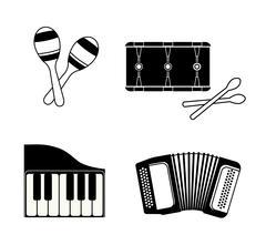 Accordion, maraca, piano and drum icon. Music instrument. vector Stock Illustration