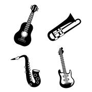 Saxophone and trumpet and guitar  icon. Music instrument. vector - stock illustration