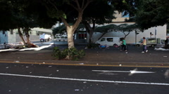 Garbage on central street after weekend open air trading. Santa Cruz, Tenerife - stock footage