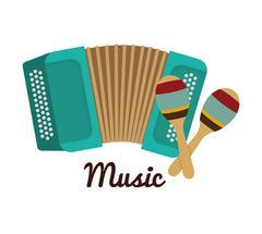 Accordion, maraca icon. Music instrument. vector graphic Stock Illustration