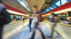 Time Lapse People Walking In And Out The MTR Train Station Of Hong Kong (Blur) - stock footage