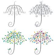 Umbrella Shape Tree Stock Illustration