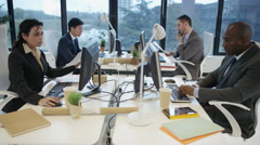 4K Mixed ethnicity corporate business group working together in city office - stock footage