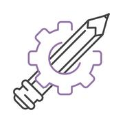 Pen icon drawing gear vector - stock illustration