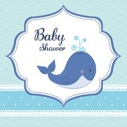Baby Shower. whale.  Pastel design. vector graphic - stock illustration