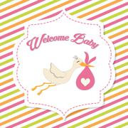 Baby Shower. stork. Pastel design. vector graphic - stock illustration