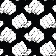 Raised fist. Strong fist on a black seamless background. Mans hand. Male fist Stock Illustration