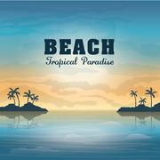 Summer season. Palm and beach icon. vector graphic Stock Illustration