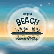 Summer season. Palm and beach icon. vector graphic - stock illustration