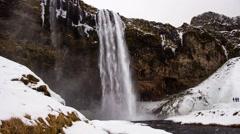 Seljalandsfoss Iceland Waterfall Time Lapse Stock Footage