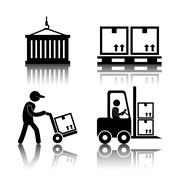 Logistics and delivery icons - stock illustration