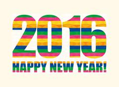 Happy new year colorful card - stock illustration