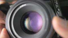 4K Camera DSLR Lens Taking Pictures - stock footage