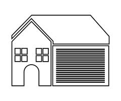 Home family. House with door and windows. silhouette design, vec - stock illustration
