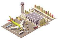 Vector isometric low poly airport terminal building with airplane and Ground - stock illustration